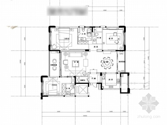 [无锡]精致生活区简欧三居室样板房设计方案图