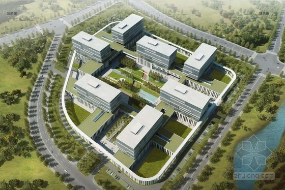 [北京]高层竖向线条屋顶花园企业办公楼建筑设计方案文本