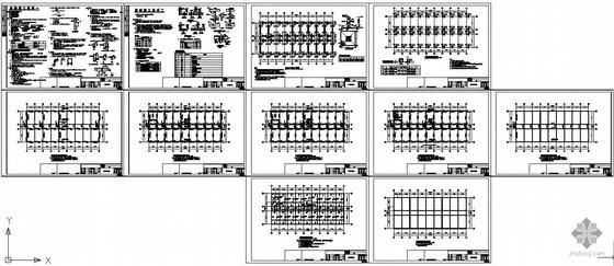 常州某公司框架宿舍楼结构设计图(含PKPM计算模型)