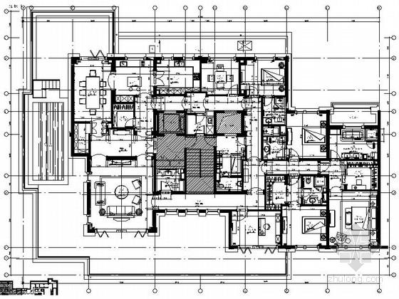 [上海]房地产集团旗下典雅现代风格大户型样板间装修施工图