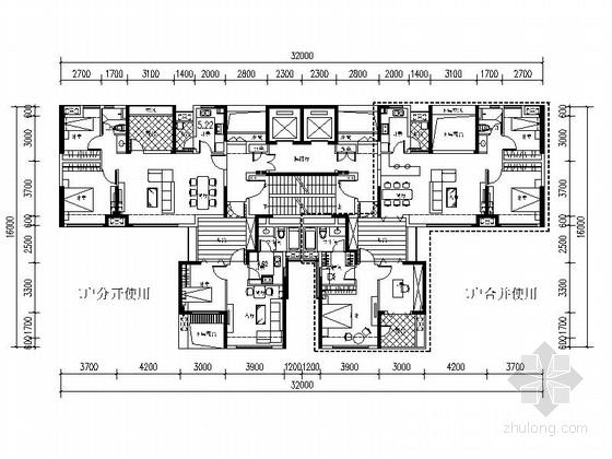 [万科户型]一核四户高层住宅户型平面图(300平方米)