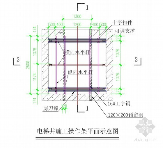 扣件式钢管施工操作架搭设标准(电梯井施工)