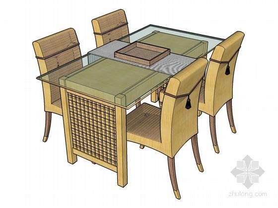 中式桌椅SketchUp模型下载