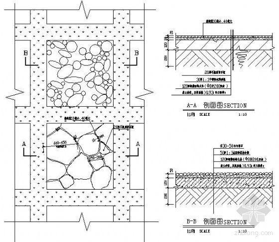 青石板及卵石铺装做法