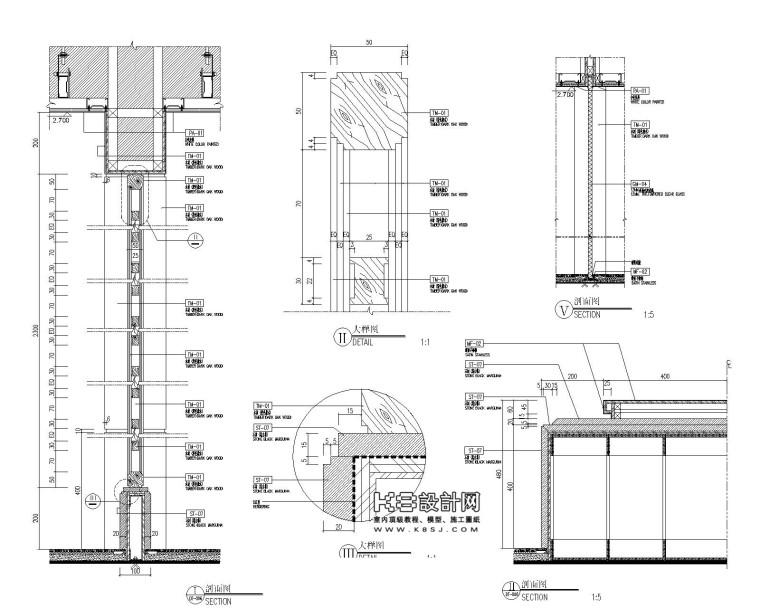 [酒店]隔墙|隔断屏风|隔栅|隔音墙裙节点详图-137 B-隔墙(玻璃)-布局1