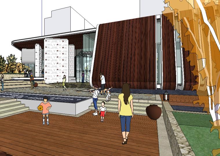 新中式居住小区景观模型设计