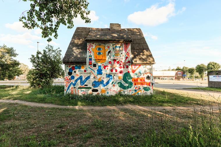 立陶宛房屋外墙上涂鸦景观-3