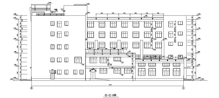 5套商务办公楼建筑设计施工图CAD-多层办公综合楼建筑设计立面图