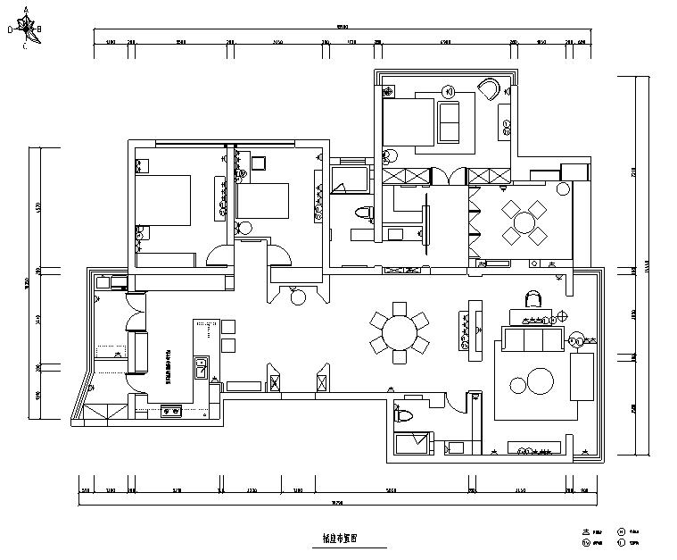 【辽宁】蓝白基调浪漫住宅空间设计施工图(附效果图)_1