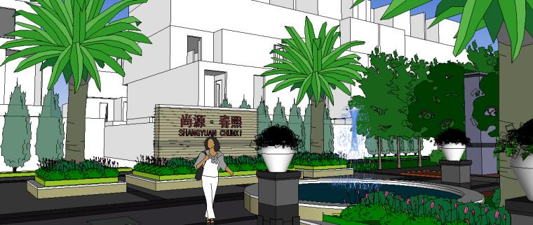 现代居住区入口景观模型 3