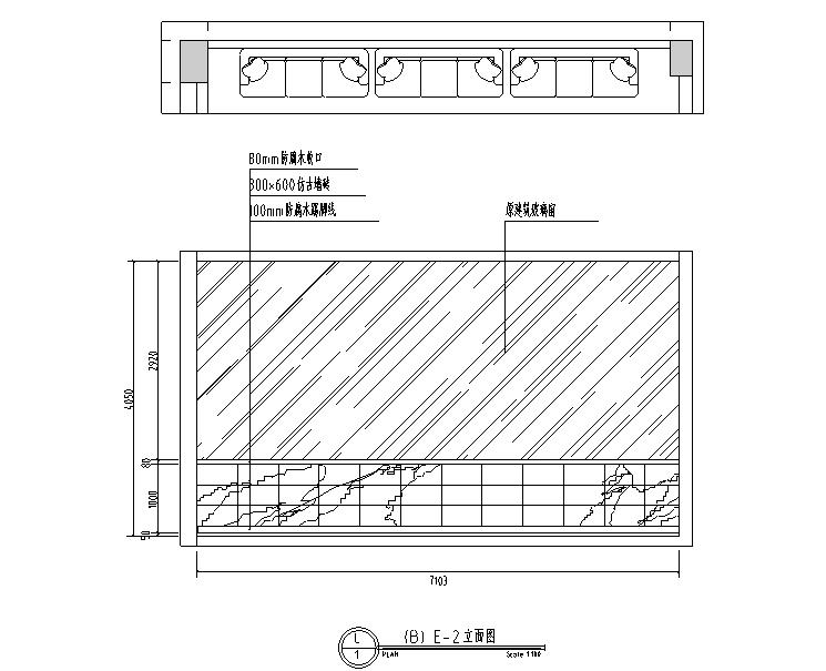 英伦风网吧网咖室内空间设计施工图(附效果图)-立面