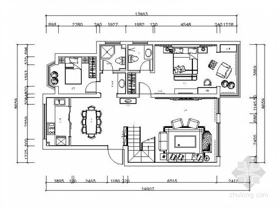 [河南]豪华别墅室内装饰施工图(含效果图)