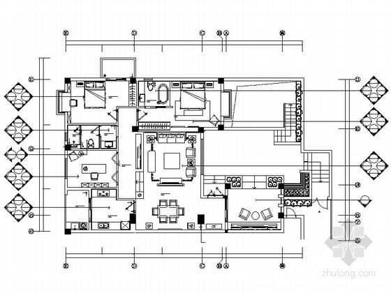 [厦门]新中式风格两居室样板房装修图(含效果图)