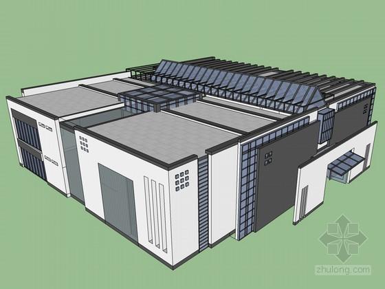 新中式展覽館SketchUp模型下載
