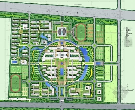 [河南]现代风格校区总图规划设计方案文本-现代风格校区总图规划总平面图