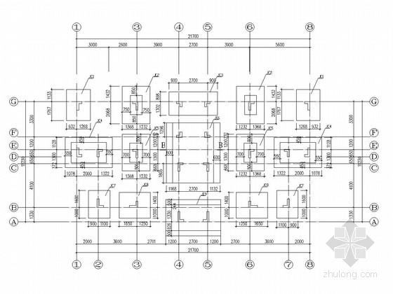 七层异形柱框架结构教师宿舍楼结构施工图