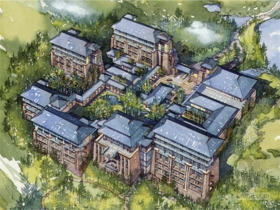 [重庆]新中式风格山地度假酒店建筑设计方案文本