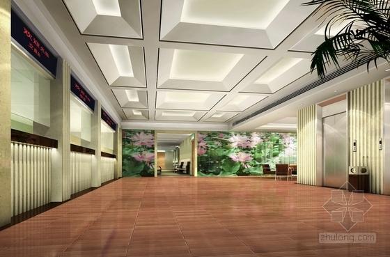 [杭州]社区综合性医疗卫生服务中心室内装修设计施工图(含效果)大厅效果图