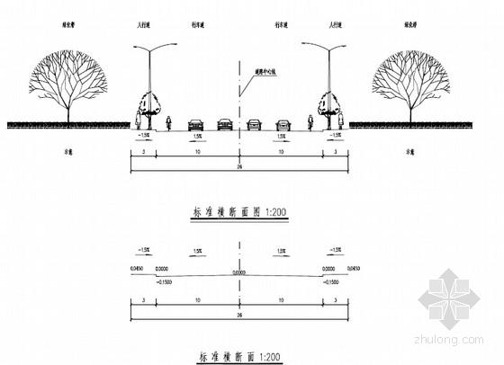 [广西]2015年设计26米宽生态产业园水泥路面道路工程施工图153张(交通绿化照明排水)
