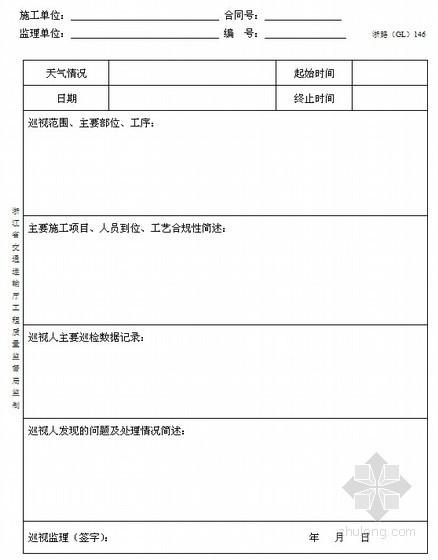 [浙江]超全公路工程施工监理统一用表(360页)-巡视记录