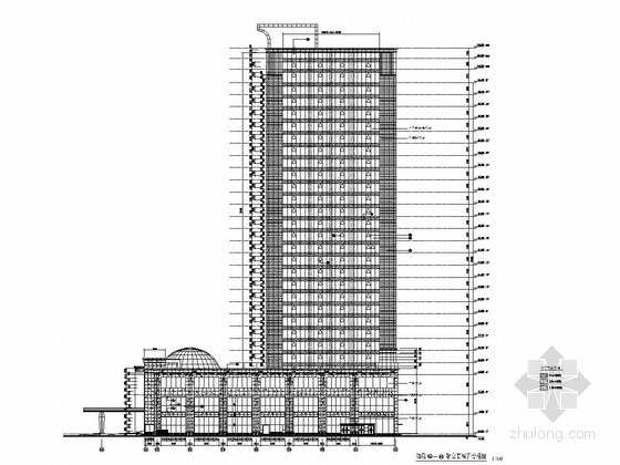 [湖南]30层酒店玻璃石材幕墙施工图