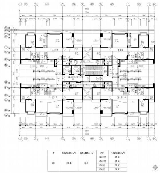 塔式高层一梯四户户型图(70/70/77/77)