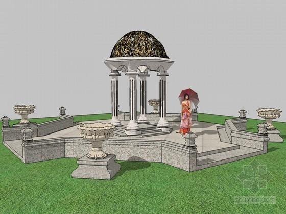 欧式景观亭SketchUp模型下载