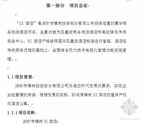 深圳市某酒店可行性研究报告