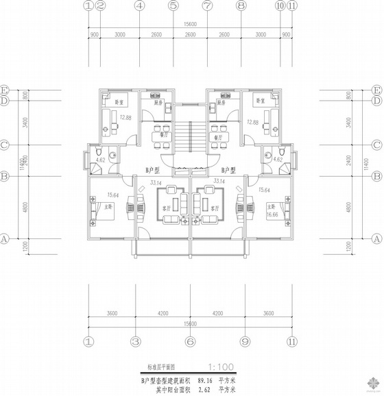 板式多层一梯两户二室一厅一卫户型图(89/89)