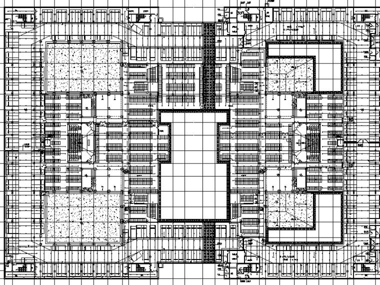 厦门大学翔安校区主楼群(1245#楼)初步设计文件(给排水工程)-1#2#地下一层喷淋平面图