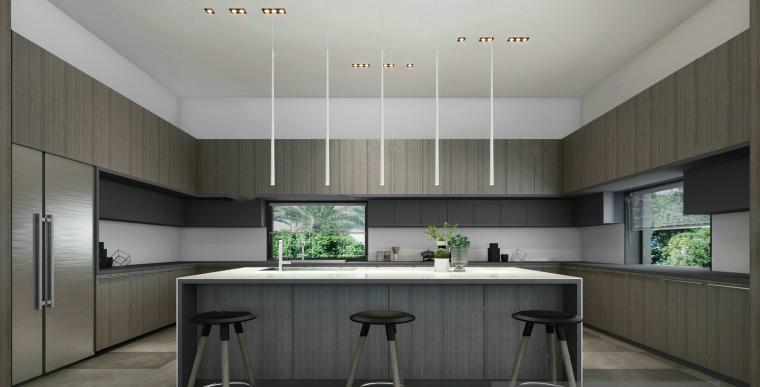 现代简约开放式厨房餐厅3D模型