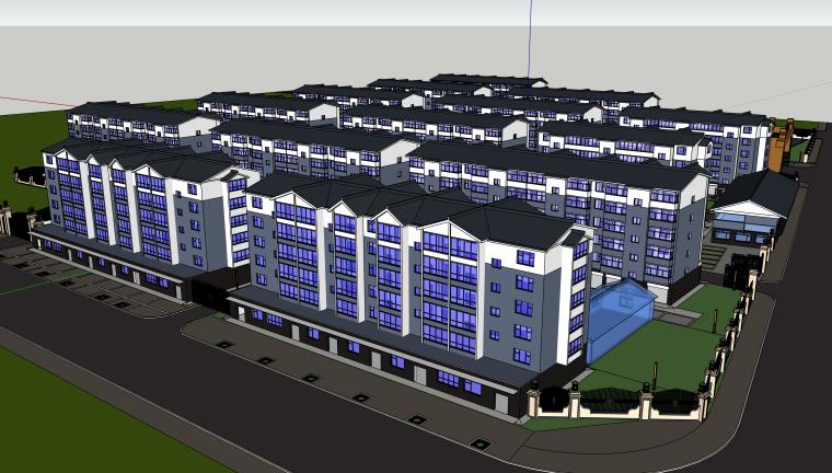 完整小区精细住宅建筑模型设计