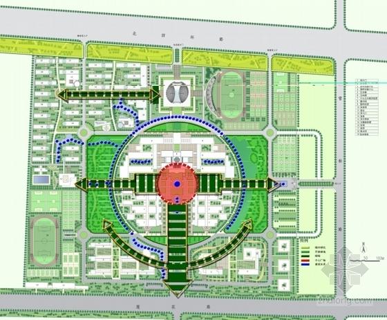 [河南]现代风格校区总图规划设计方案文本-现代风格校区总图规划分析图