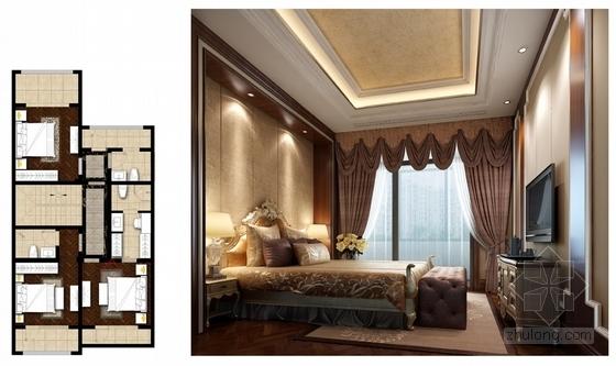[山西]豪华欧式风格三层别墅室内装修设计方案次卧