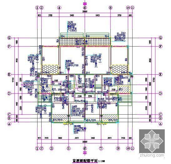 [广东]3层别墅建筑安装工程量清单计价实例(含施工图纸建筑面积479.0平方米)-首层梁配筋平图