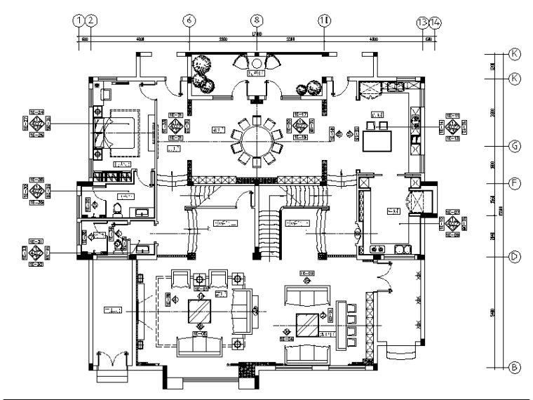 [长沙]高端私人豪宅设计CAD施工图(含效果图)