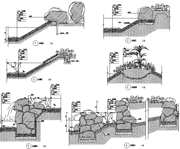 水池、景观桥、景观柱施工图详图做法全套图纸