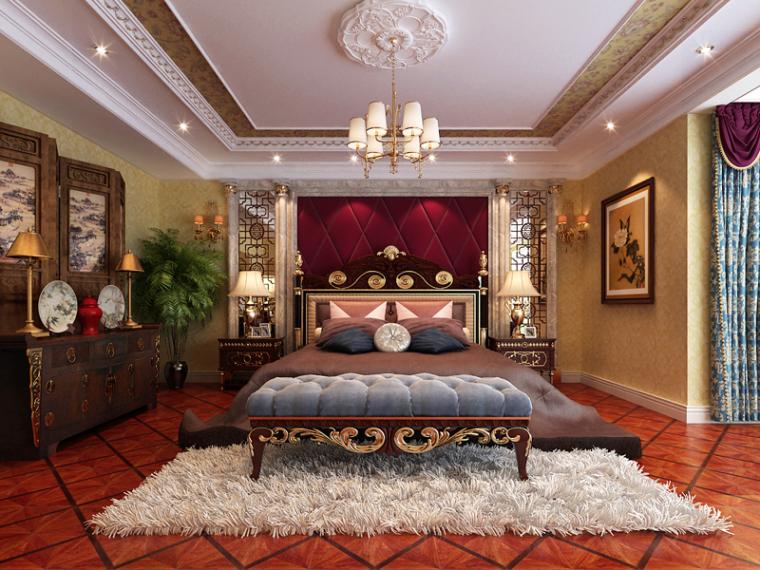 欧式华丽卧室3D模型下载