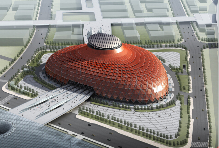 [上海]國家級別花瓣平面展覽館建筑方案文本(含景觀室內設計)