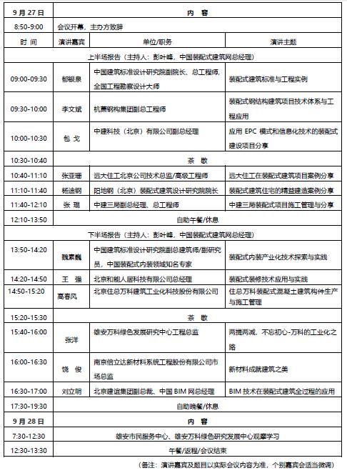 不可错过的《装配式项目施工管理研讨盛会》9月27~28日,北京雄安