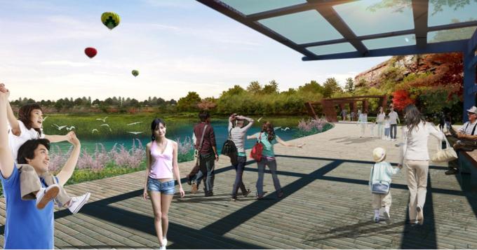 [山西]滨河崖壁生态立体化湿地公园景观设计方案-亲水栈道景观效果图