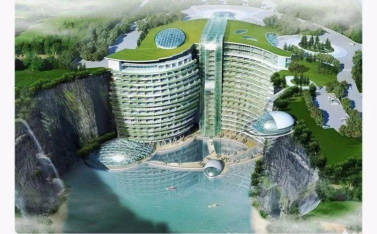 """深坑崖壁""""挂""""高楼,施工全球第一家深坑酒店,住酒店还能看瀑布"""