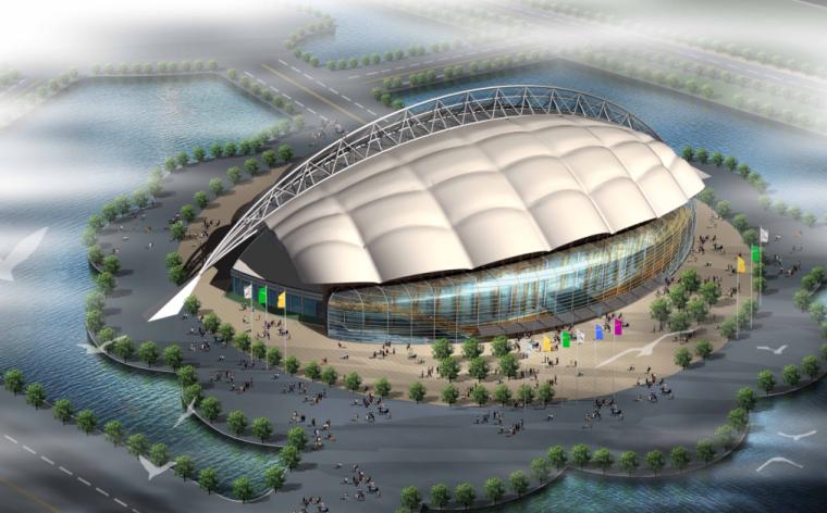 昆山体育场建筑施工图效果图