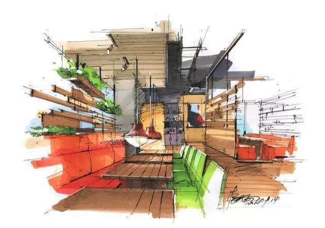 室内手绘 室内设计手绘马克笔上色快题分析图解_10