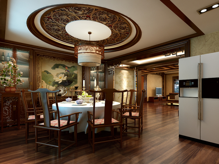 大气中式餐厅3D模型下载