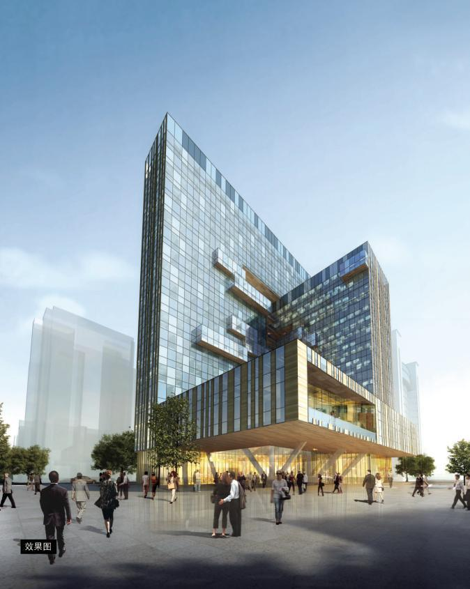 [广西]现代风格穿插式体块商业综合楼建筑设计方案文本