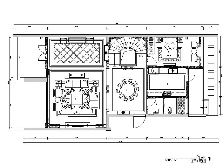 奢华风中廷森林公馆别墅设计施工图(附效果图)
