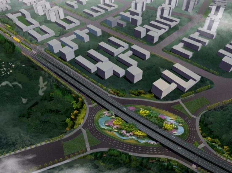 [湖北]中华一路道路景观规划设计(PDF+66页)-鸟瞰