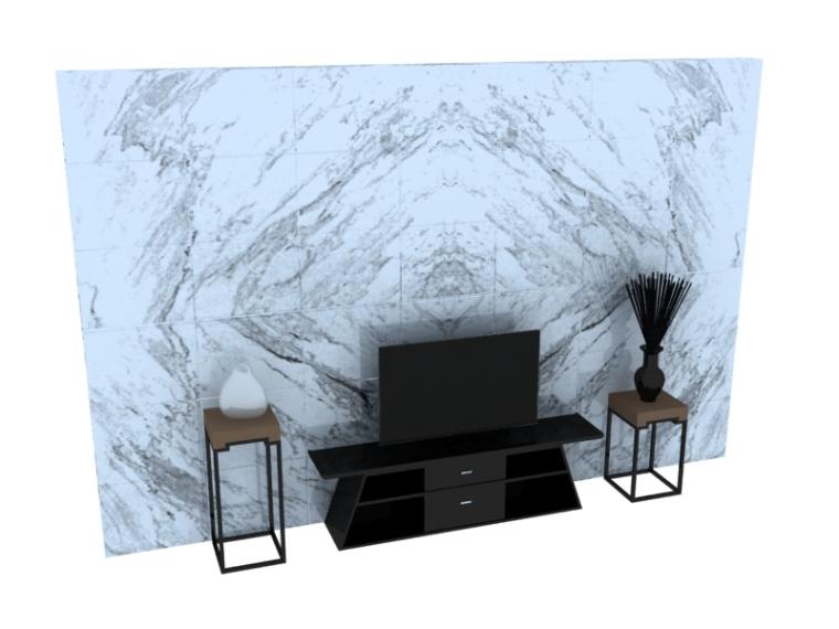 新中式简约背景墙3D模型下载