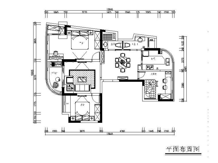 [杭州]简约欧式风两居室设计施工图(含效果图)